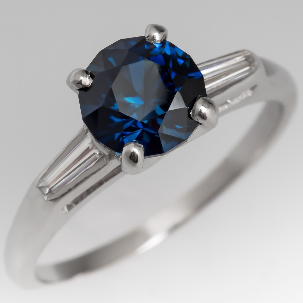 Vivid Deep Blue Green Sapphire Engagement Ring Platinum Diamonds