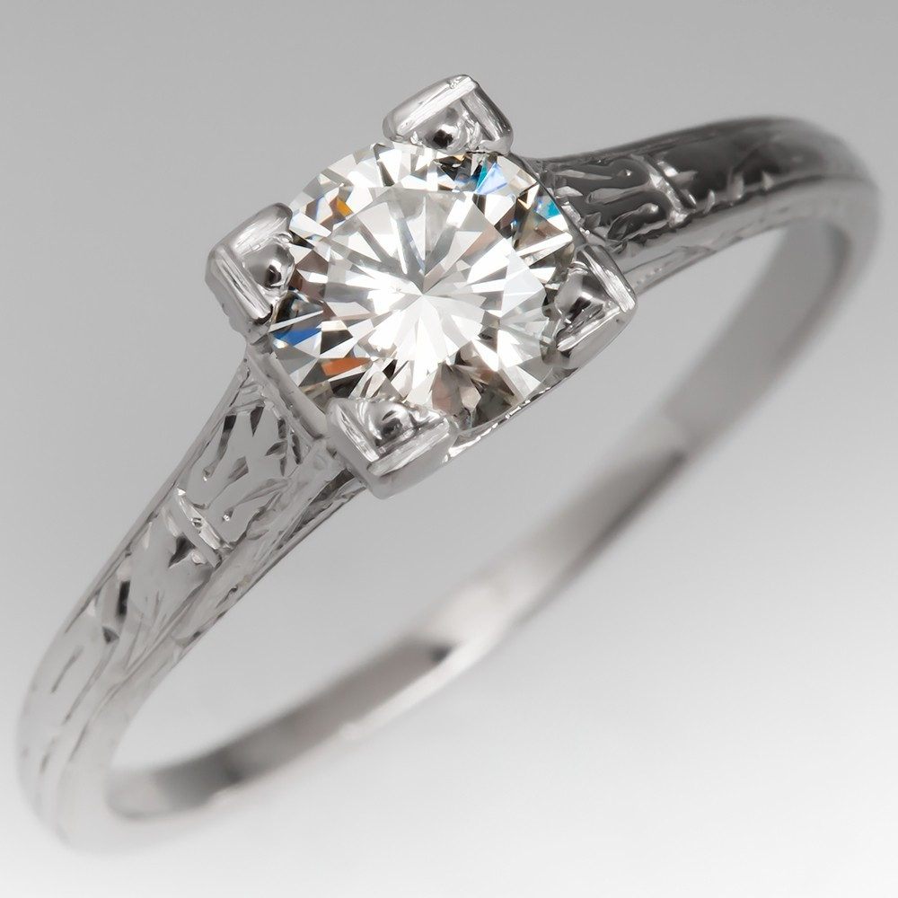 Vintage Diamond Engraved Solitaire Engagement Ring Platinum