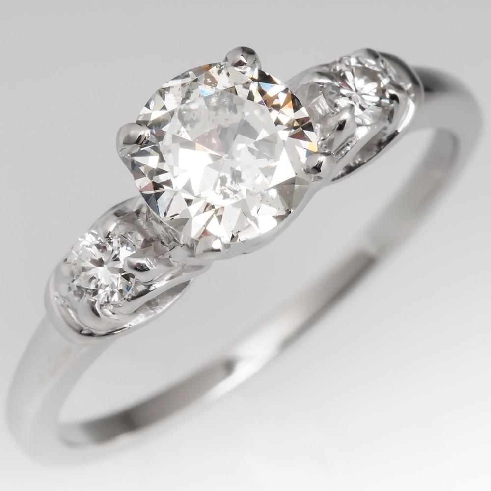 Vintage Transitional Cut Diamond Platinum Engagement Ring