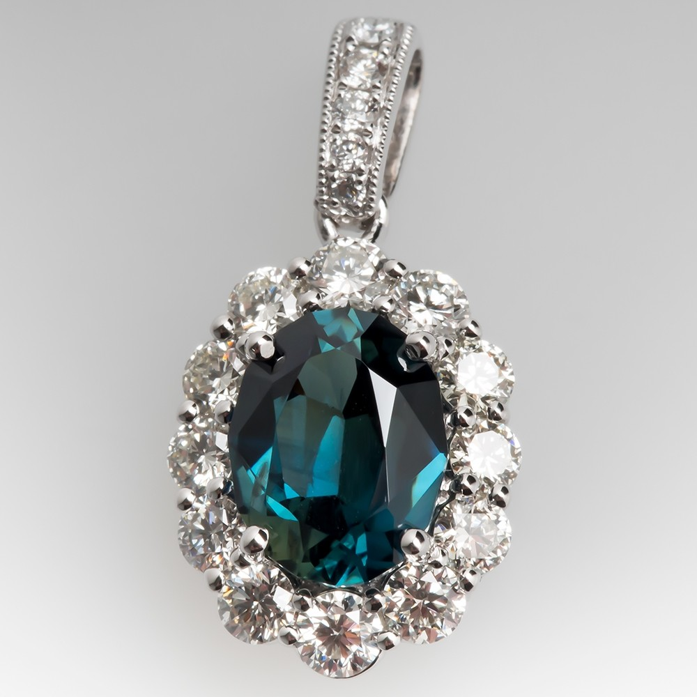 Rich Blue Green Sapphire Diamond Halo Slide Pendant 18K