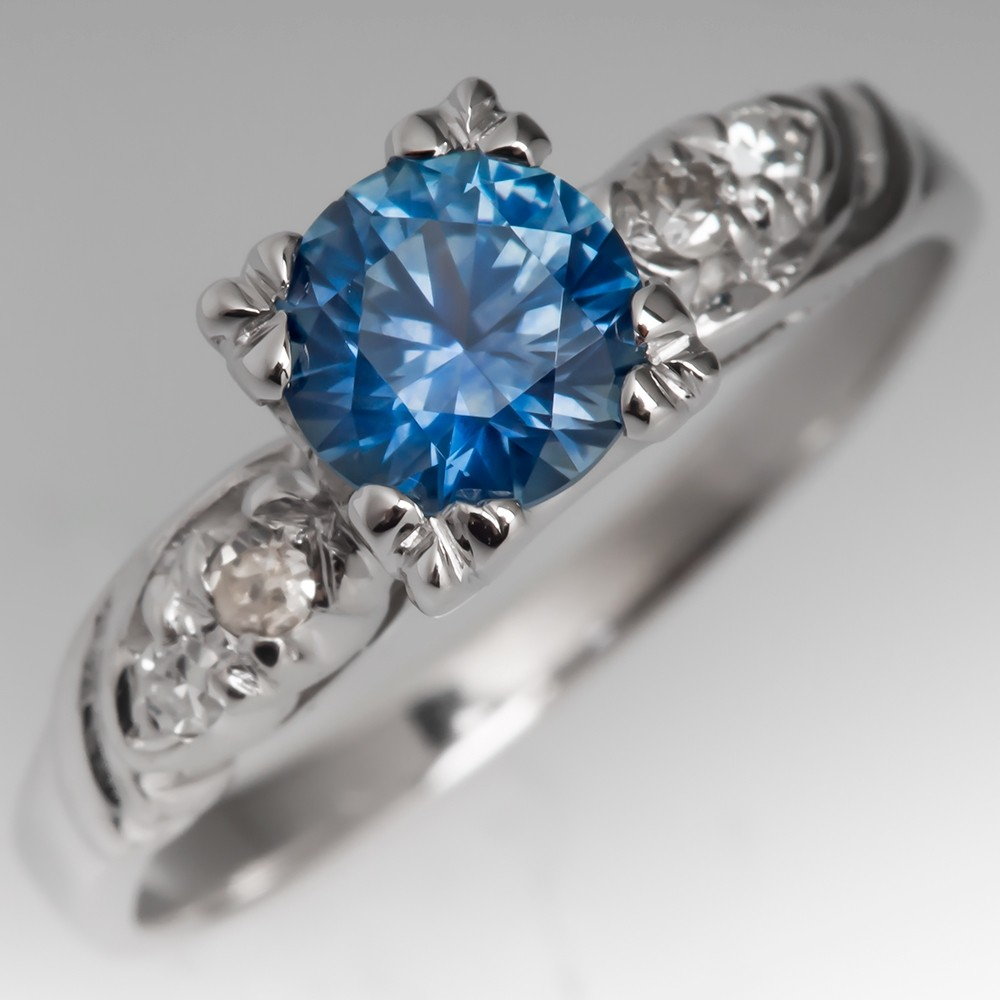 Bright Montana Sapphire Engagement Ring 14k White Gold Vintage Mount