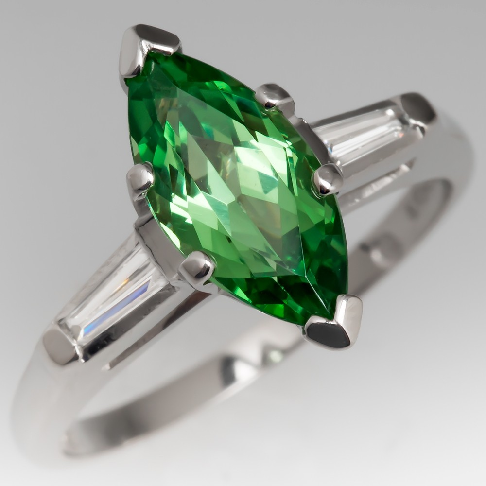 Marquise Tsavorite Garnet Ring w/ Tapered Baguette Diamonds Platinum
