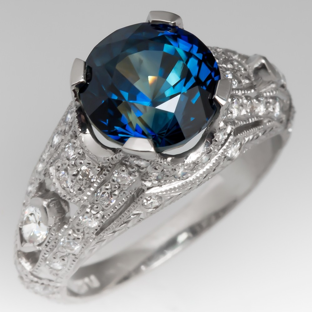 Intricate Platinum Diamond Ring with No Heat Blue Green Sapphire Center