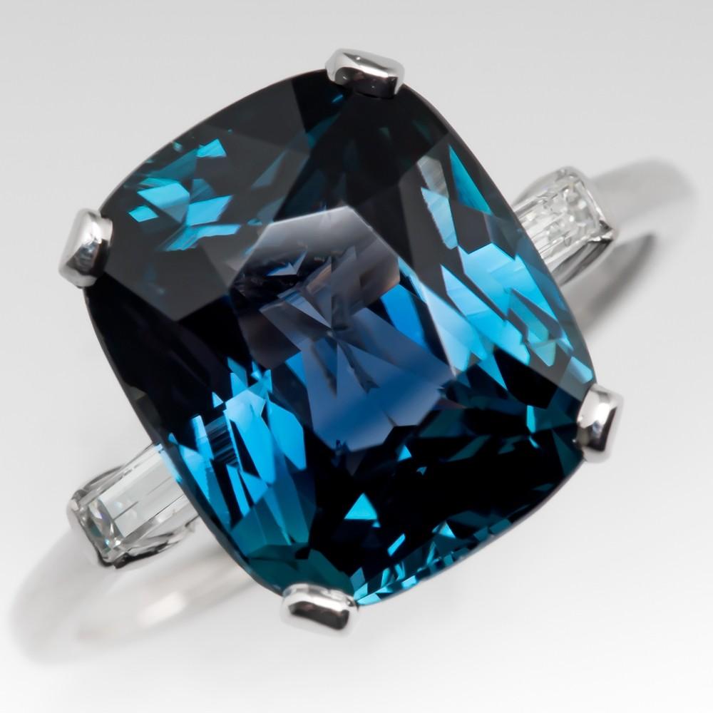 5.5 Carat Cushion Cut Blue Green Sapphire Ring Platinum