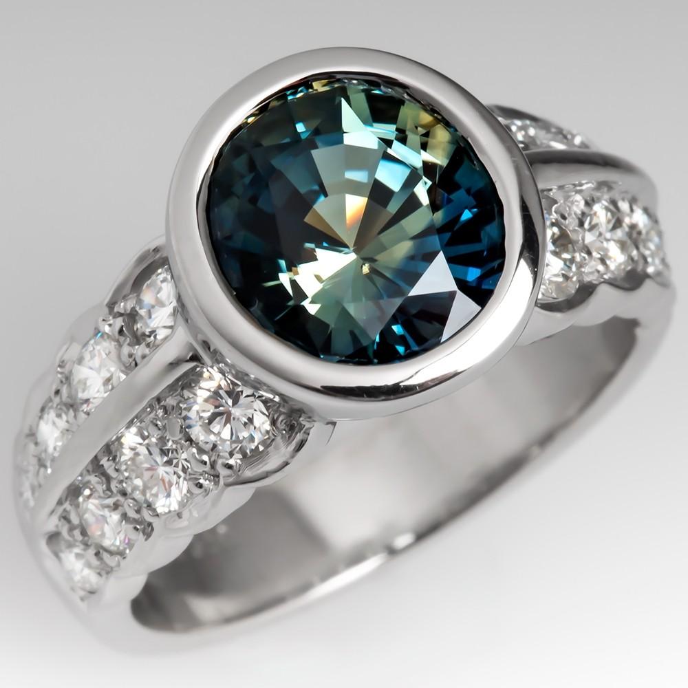 Vivid Blue Green Sapphire Ring Bezel Set Platinum w/ Diamonds