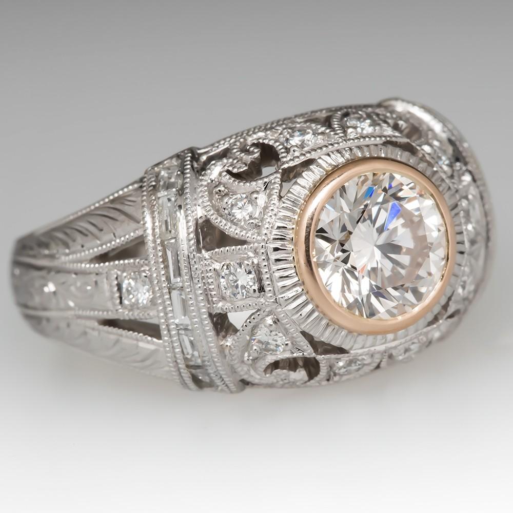 Bezel Set Diamond Dome Ring Ornately Detailed Platinum w/ Accents