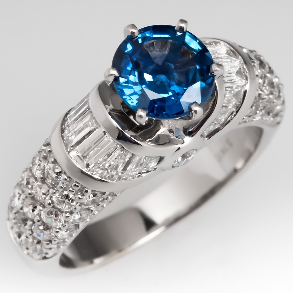 No Heat Icy Blue Sapphire & Diamond Encrusted Engagement Ring 14K
