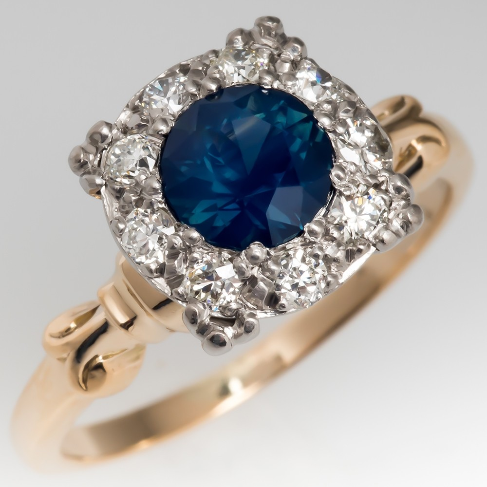 Dark Blue Green Sapphire Diamond Halo Ring 1950's Mount