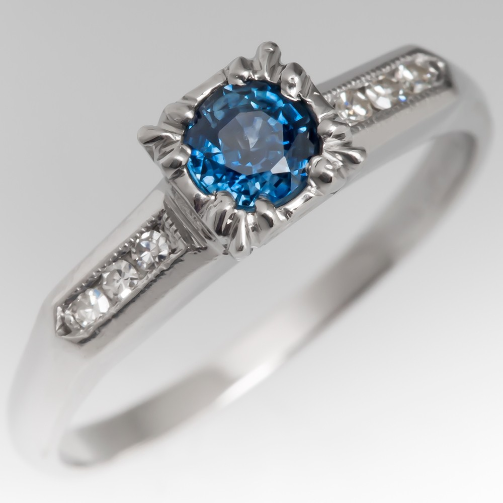 Cindi D Facebook Giveaway Ring - Petite Montana Sapphire Engagement Ring 1950's Platinum Mount