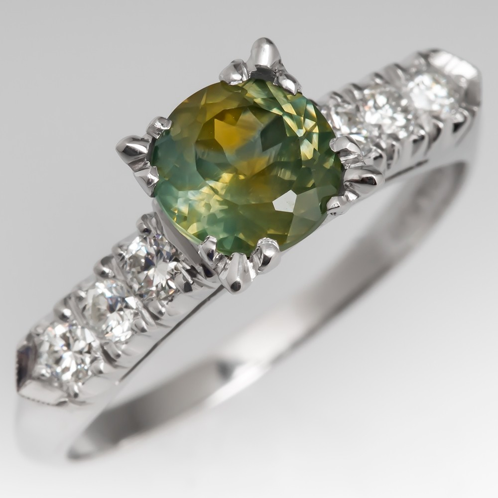 Unique Green Montana Sapphire Engagement Ring 1950's Platinum Mount