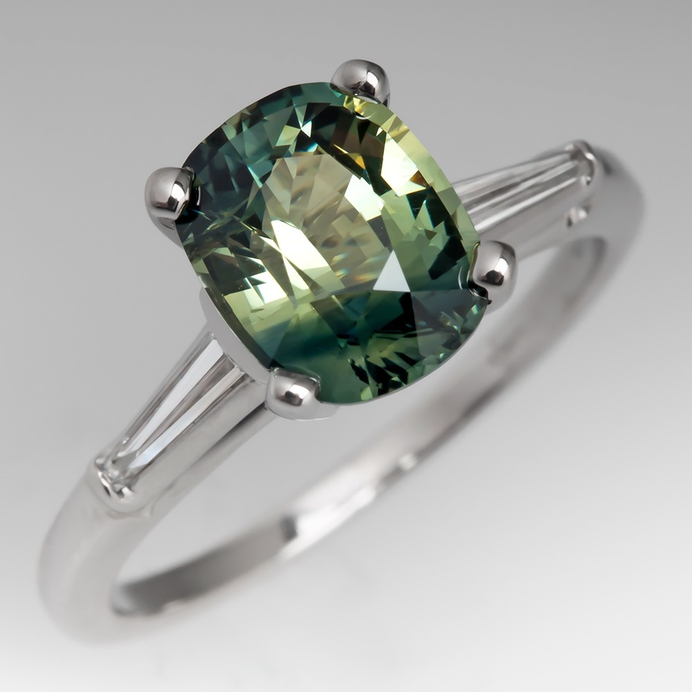 No Heat Blue Green Sapphire Engagement Ring 1960's Platinum Setting