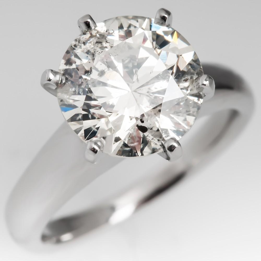 2.9 Carat Diamond Solitaire Engagement Ring Platinum