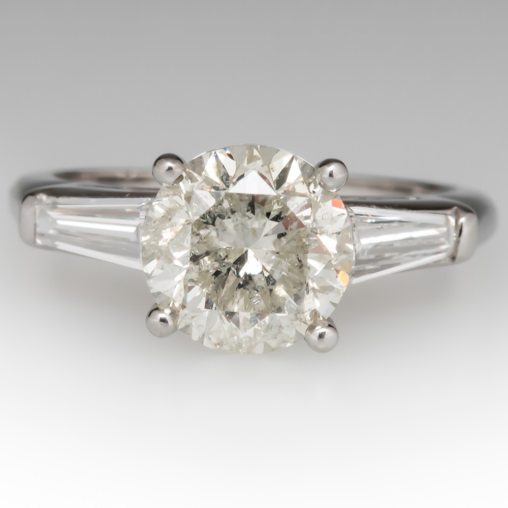 Classic 2 Carat Vintage Diamond Engagement Ring w/ Tapered Baguettes