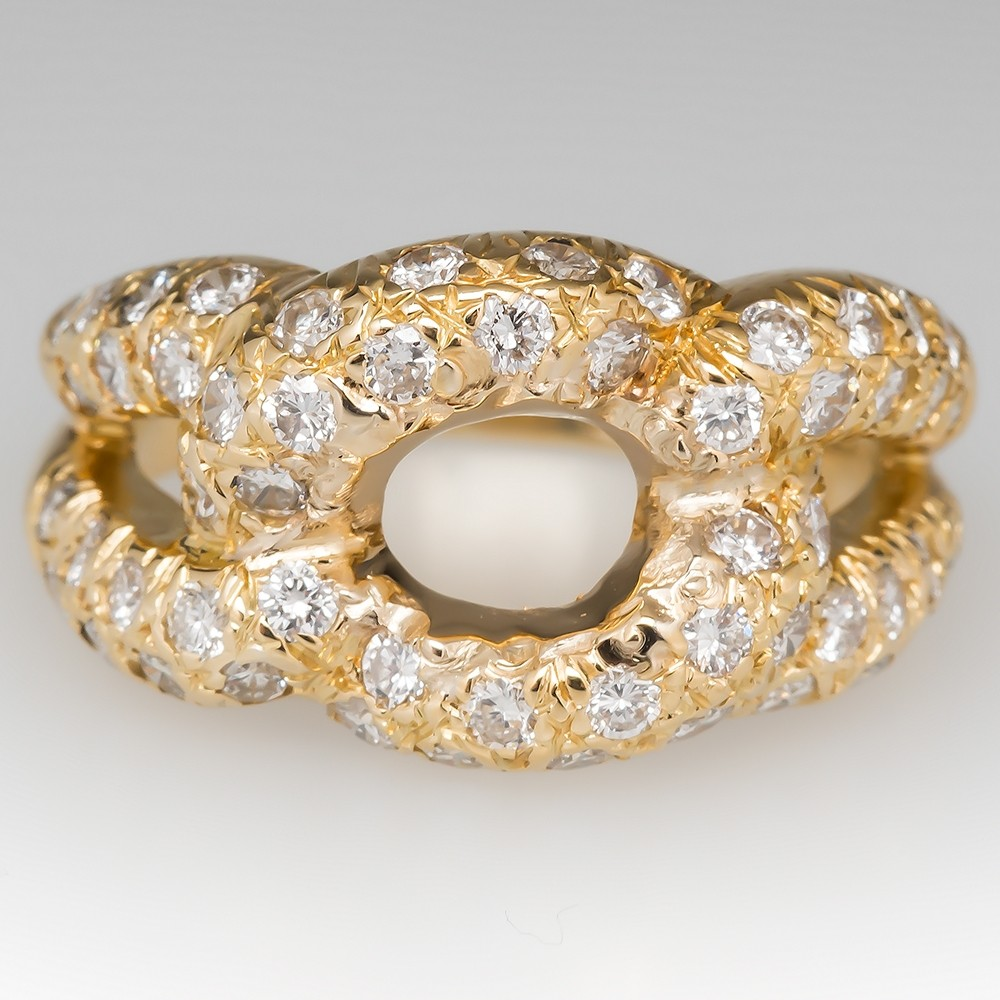 Diamond Encrusted Knot Ring 18K Yellow Gold
