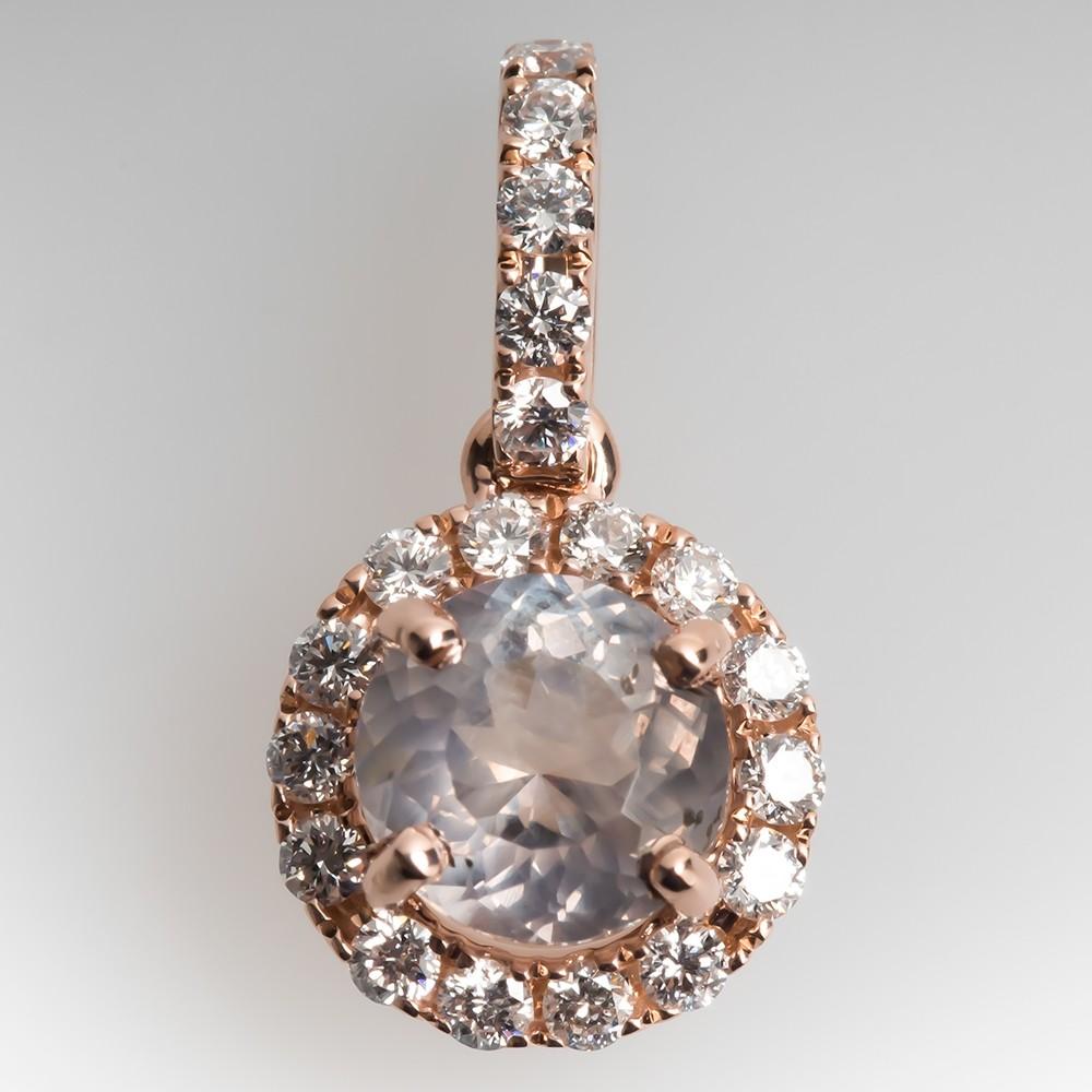 Pink Montana Sapphire Pendant w/Diamonds 14K Rose Gold