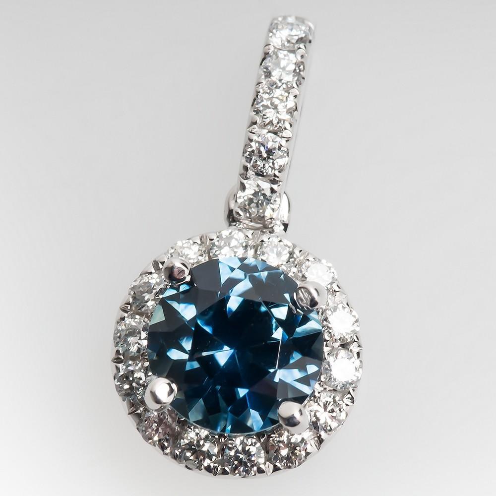 Vivid Blue Green Montana Sapphire & Diamond Pendant 14K Gold