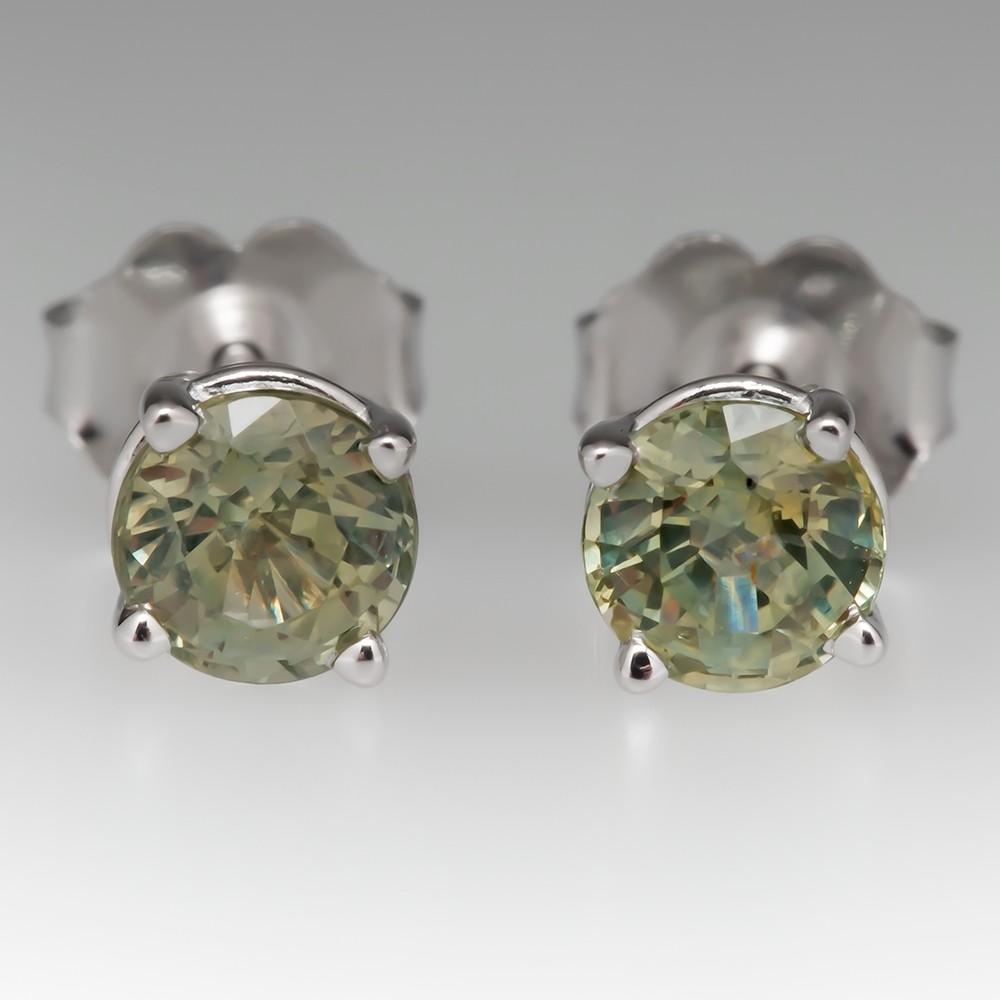 1.27CTW Yellowish Green Montana Sapphire Stud Earrings 14K White Gold
