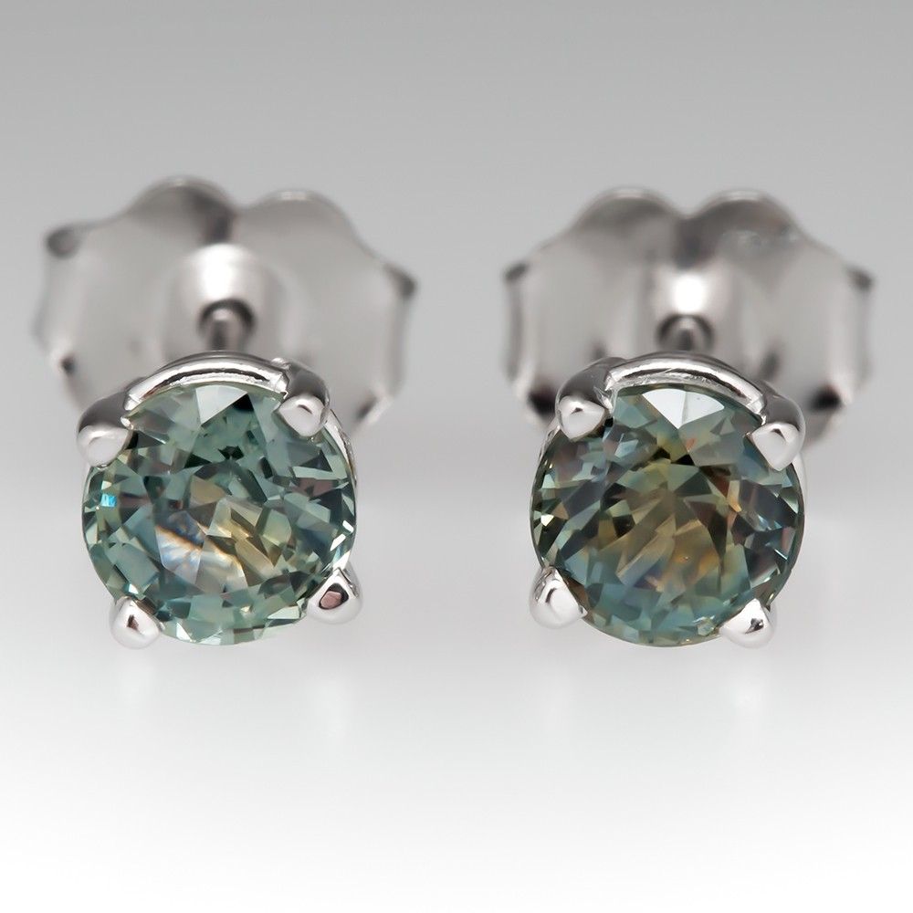 .83CTW Medium Blue Green Montana Sapphire Stud Earrings 14K White Gold