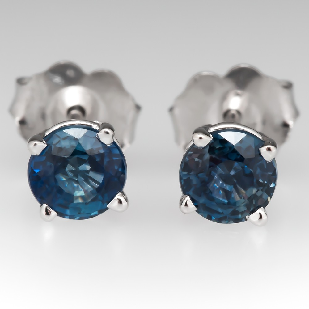 1.17CTW Blue Montana Sapphire Stud Earrings 14K White Gold