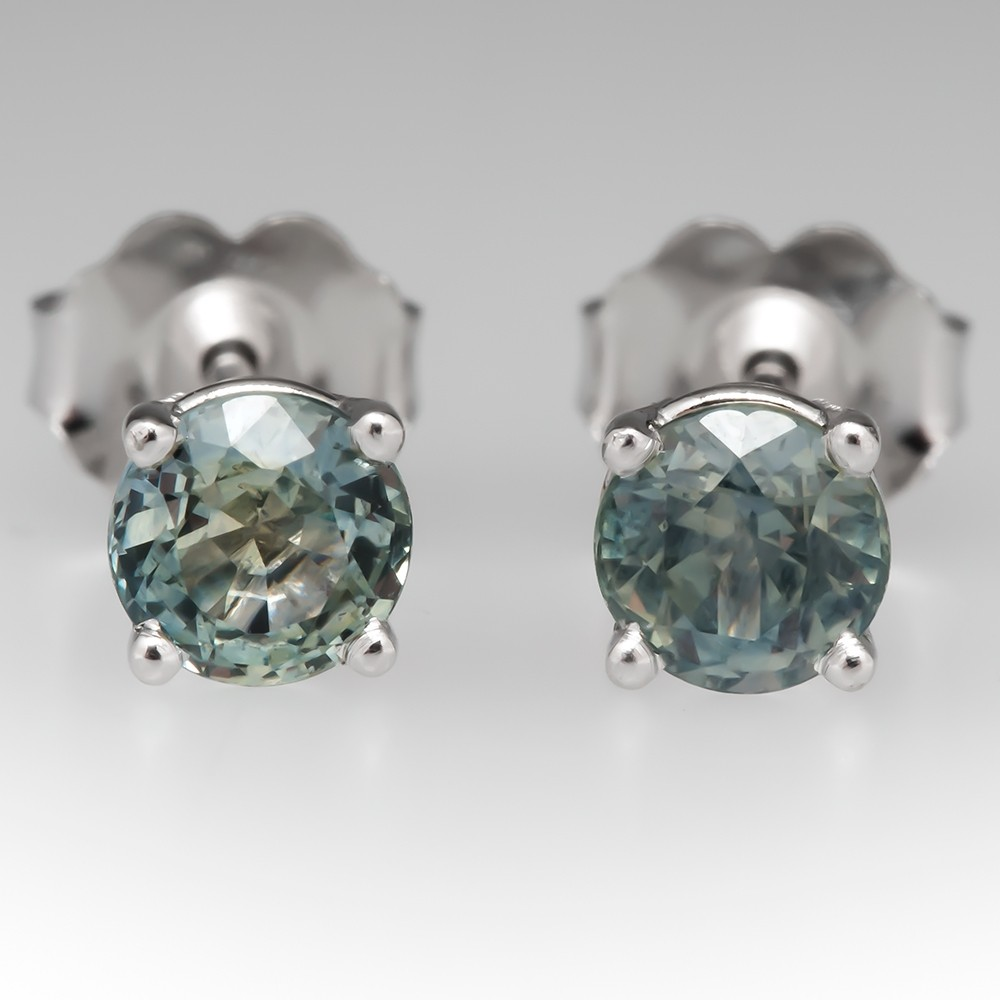 1.09CTW Medium Blue Green Montana Sapphire Stud Earrings 14K White Gold