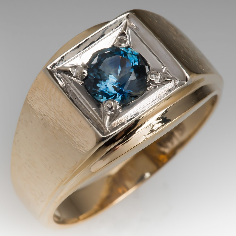 Classic Vintage Mens 14K Gold Ring Montana Sapphire