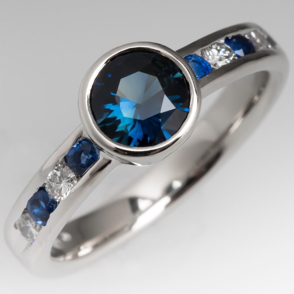 Bezel Set Rich Teal Blue Green Sapphire Engagement Ring 14K