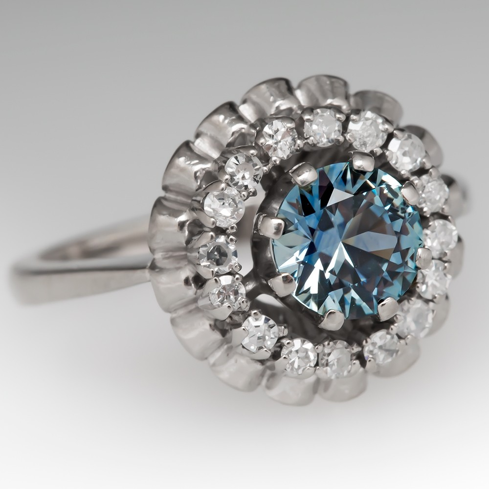 Montana Sapphire in Vintage Princess Style Cocktail Diamond Ring