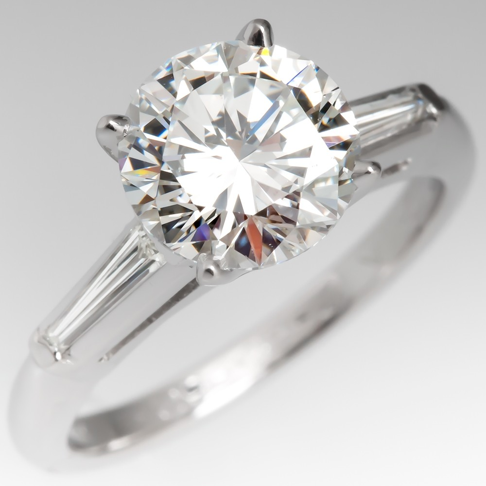GIA 1.9CT F/VS2 Round Brilliant Diamond Vintage Engagement Ring