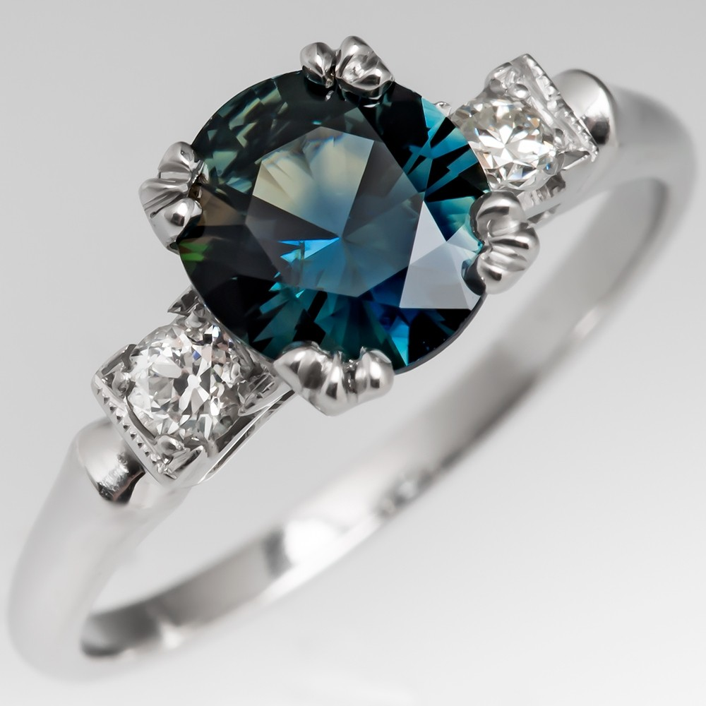 Teal No Heat Sapphire Engagement Ring 1950's Platinum Mounting
