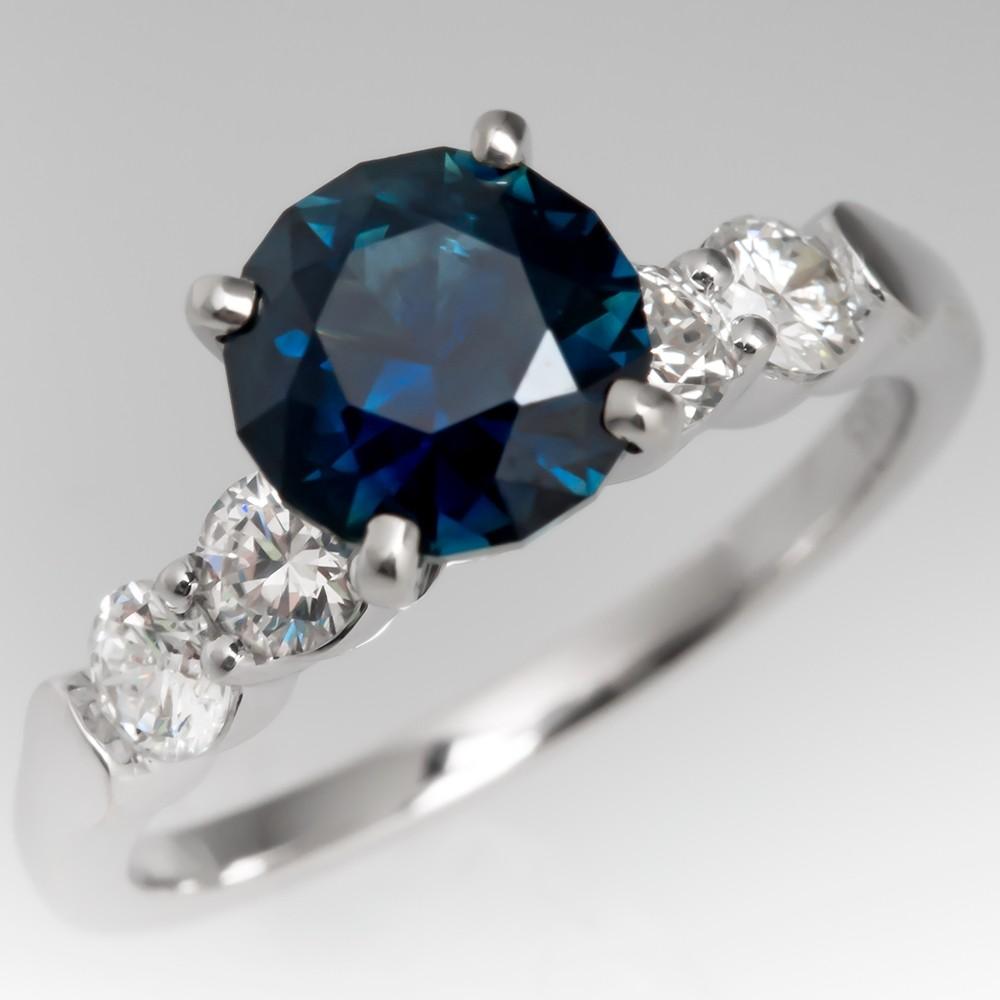 No Heat Dark Rich Blue Green Sapphire Engagement Ring 14K