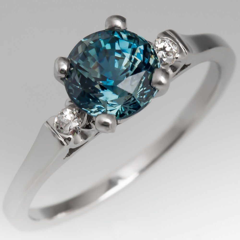 Rich Blue Green Sapphire & Diamond Platinum Engagement Ring