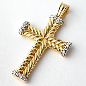 David yurman cable cross pendant solid 18k gold wdiamonds david yurman cable cross aloadofball Images