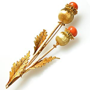 M Buccellati Vintage Coral Poppy Brooch