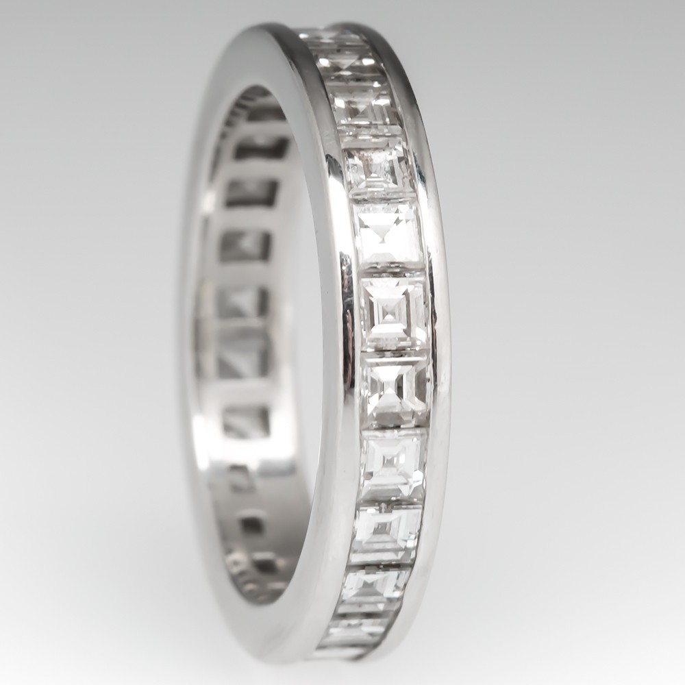 Tiffany & Co Channel Set Band Ring Eternity Diamond Solid Platinum