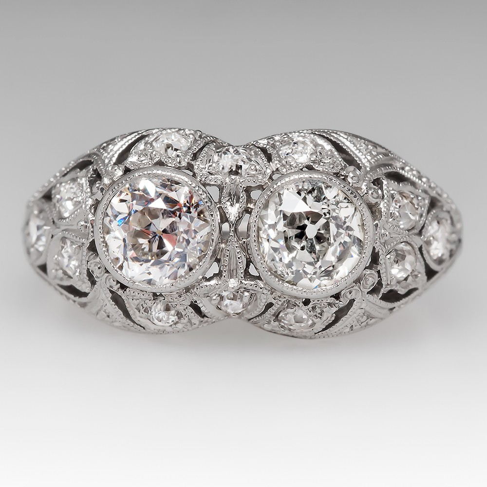 1920's Antique Toi Et Moi Old Euro Diamond Filigree Platinum Ring