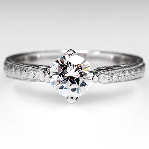 Platinum Round Brilliant Diamond Solitaire Ring w/ Floral Engravings