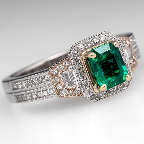 Genuine Green Emerald Ring Diamonds 18K White Gold