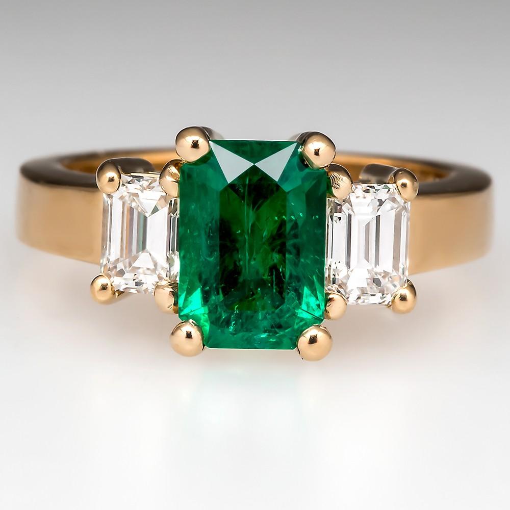 Colombian Emerald Three Stone Ring W Diamond Accents
