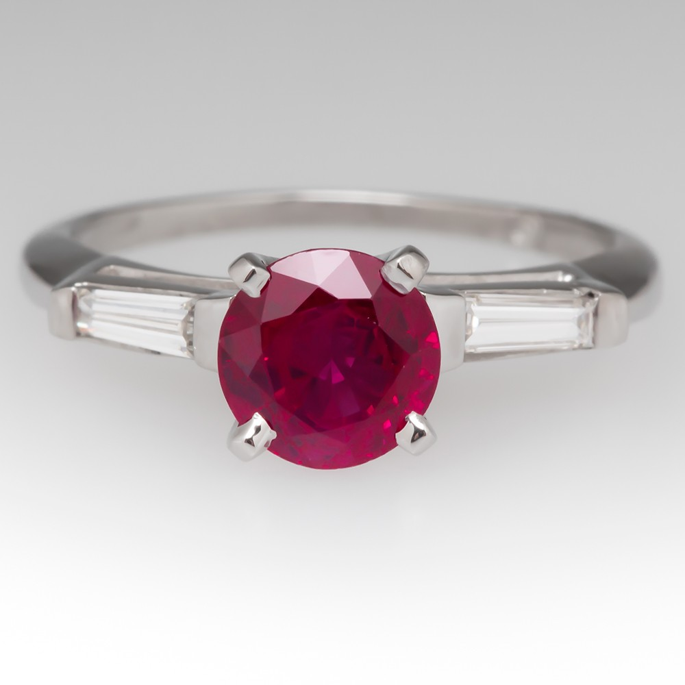 Vintage Round Burmese Ruby & Diamond Platinum Ring