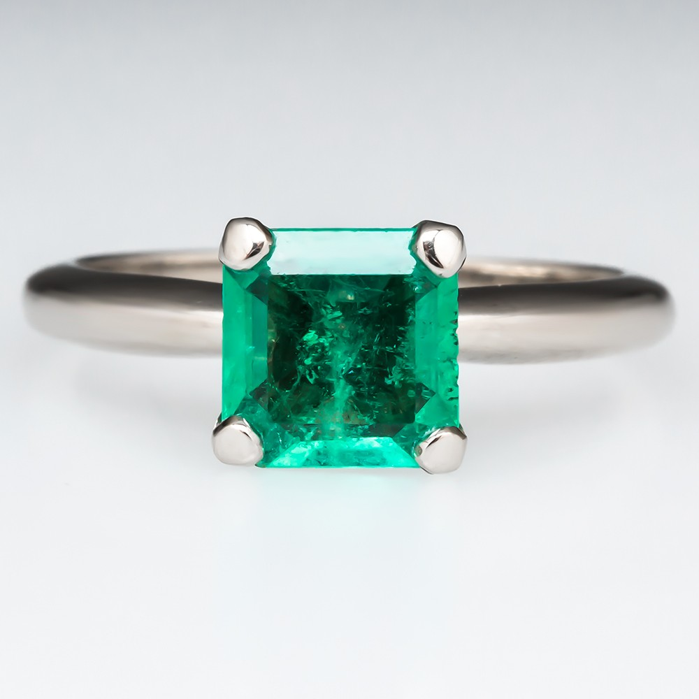 1.24 Carat Emerald Solitaire Ring 14K White Gold