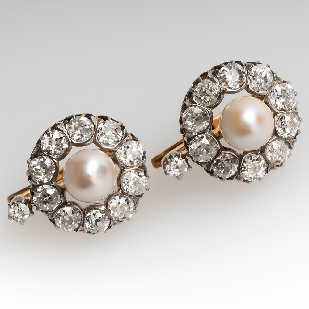 Victorian Natural Pearl & Old European Diamond Earrings C1890