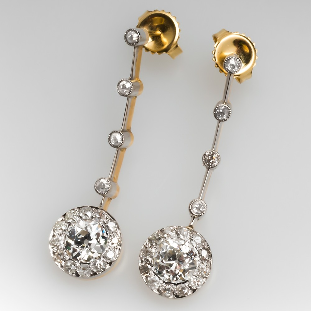 Edwardian Dangle Earrings Old Euro Diamonds 3 Total Carats!