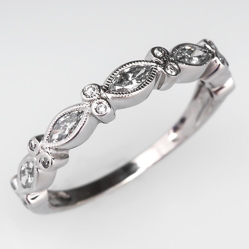 Marquise Diamond Band Ring 14K White Gold