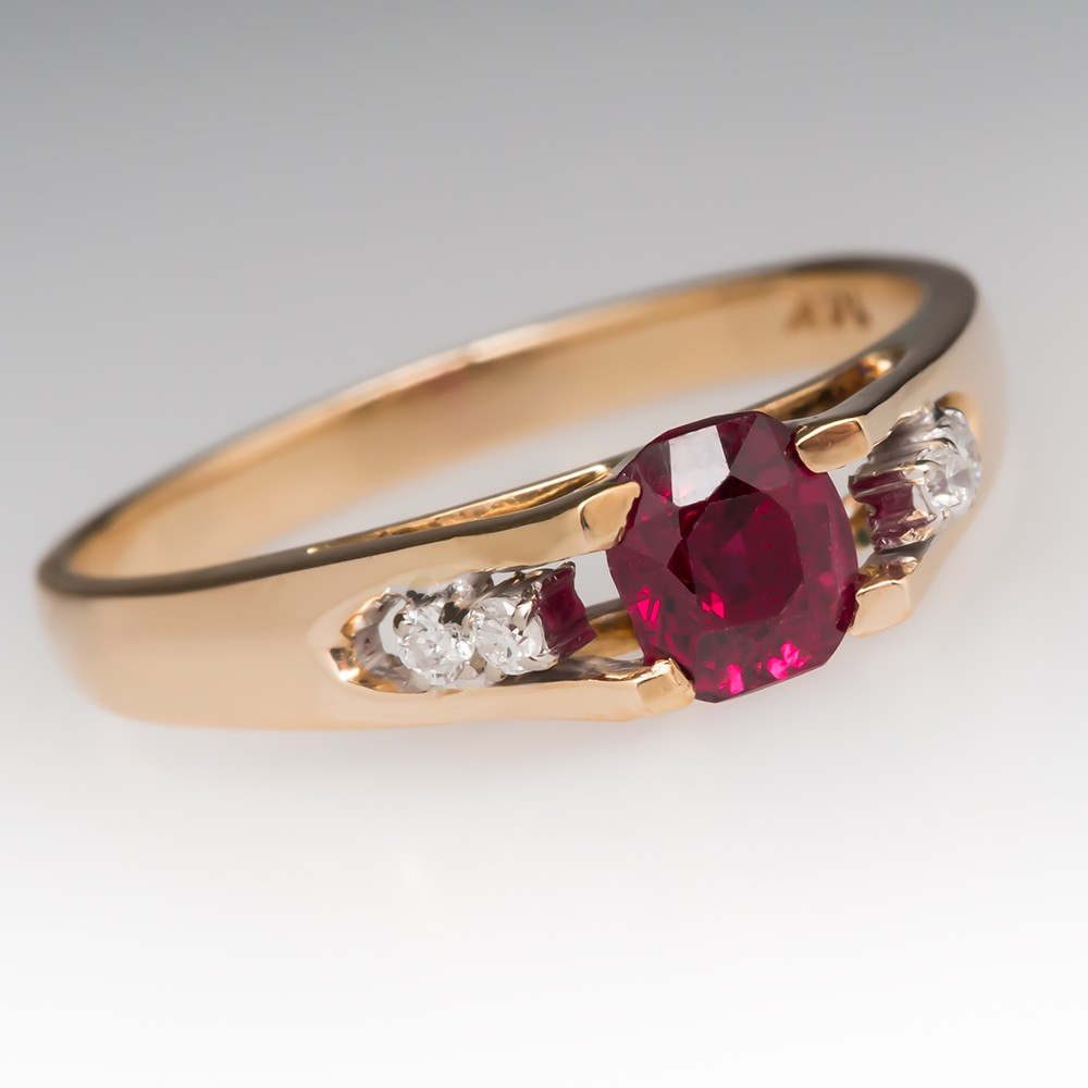Vintage .78 Carat Ruby Ring Diamond Accents 14K Yellow Gold
