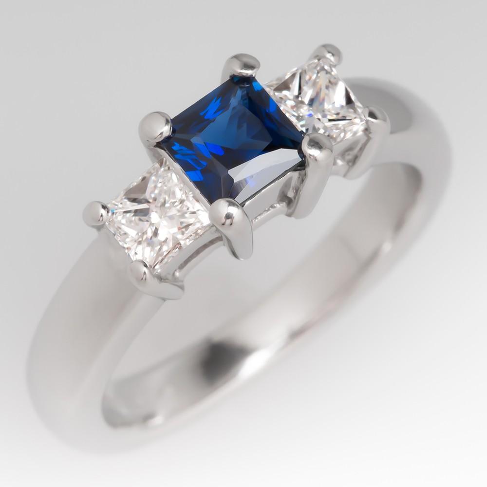 1/2 Carat Deep Blue Sapphire & Diamond Three Stone Platinum Ring