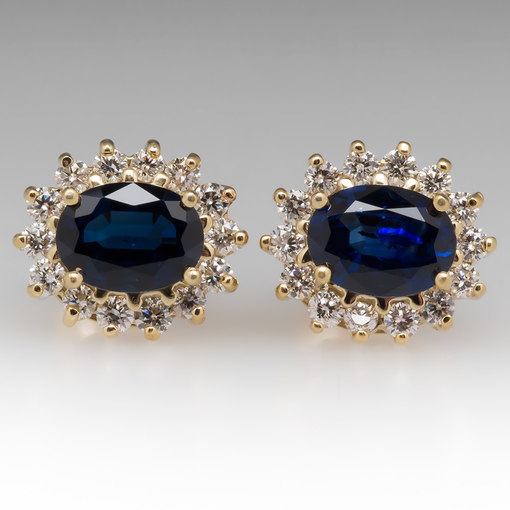 Princess Blue Sapphire & Diamond Halo Stud Earrings 18K Gold