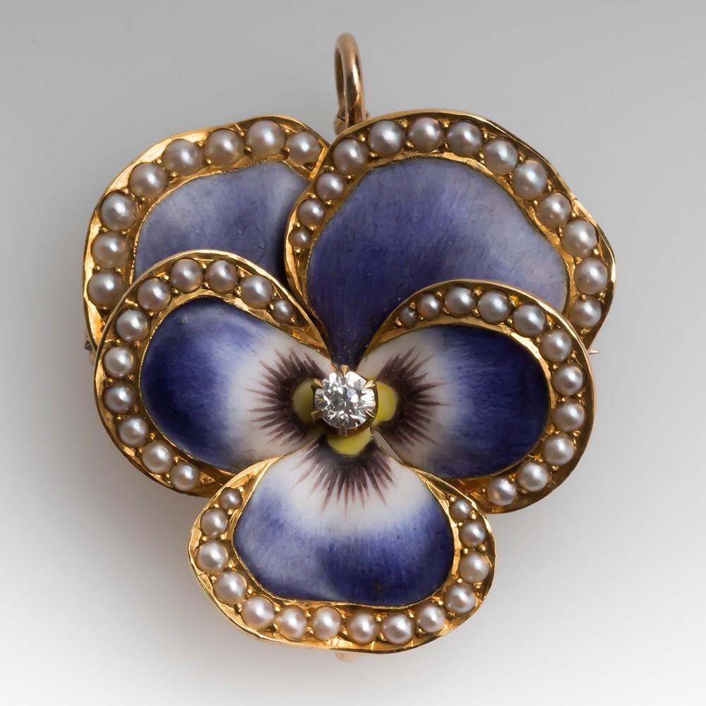 Victorian Era Enamel Pansy Brooch Pin Pendant Seed Pearls & Diamond