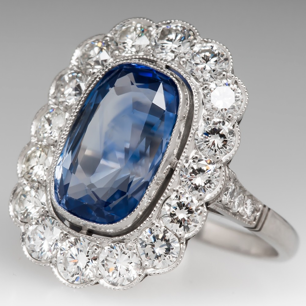 5.3 Carat Light Blue Sapphire & Diamond Vintage Halo Ring
