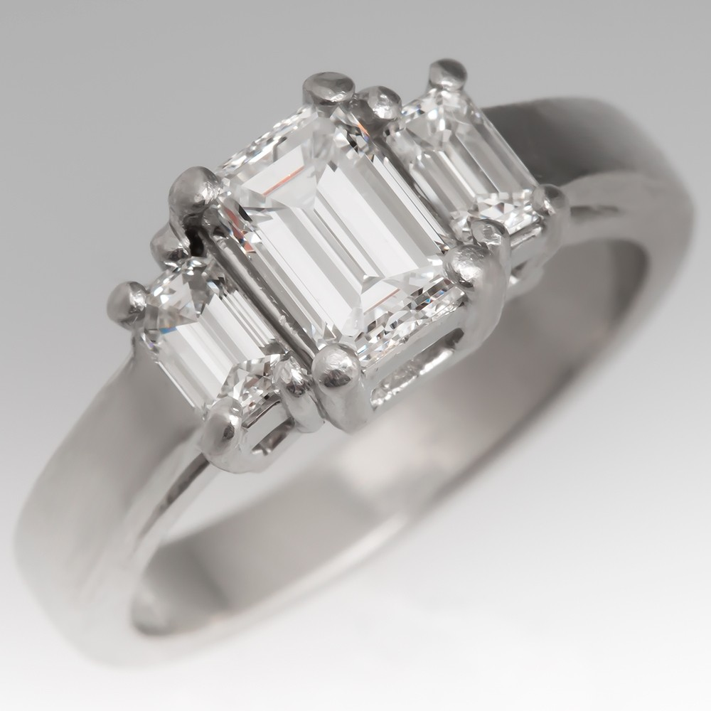 Three Stone Diamond Engagement Ring Emerald Cuts Platinum