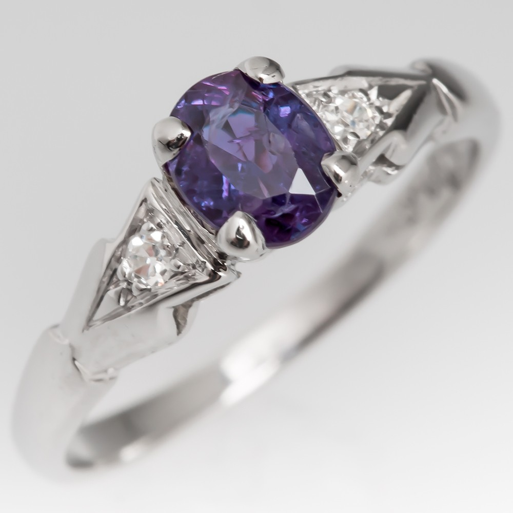 Natural Alexandrite & Diamond Ring 1930's Platinum